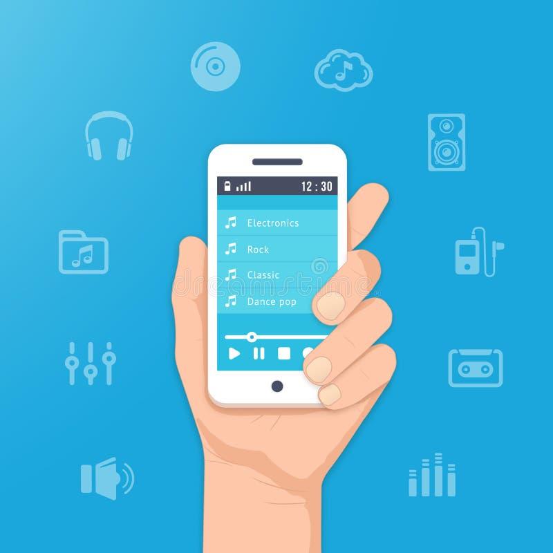 Muzyka app na smartphone royalty ilustracja