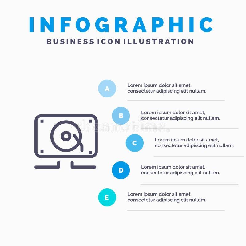 Muzyka, audio, mówca, Głośni Błękitni Infographics szablonu 5 kroki Wektor ikony kreskowy szablon ilustracja wektor
