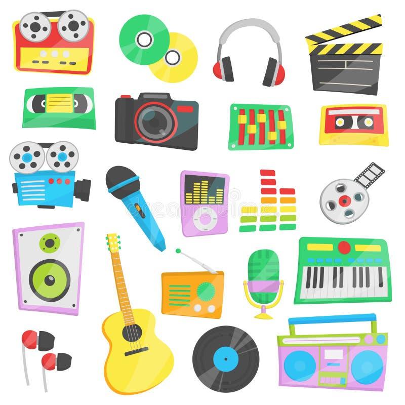 Muzyka, audio, wideo przyrząda i urządzenia, ilustracja wektor