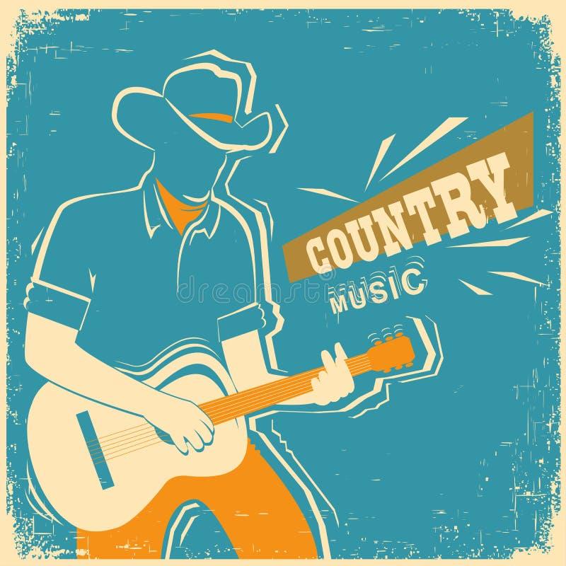 Muzyka country festiwal z muzykiem bawić się gitarę na starym vinta ilustracja wektor