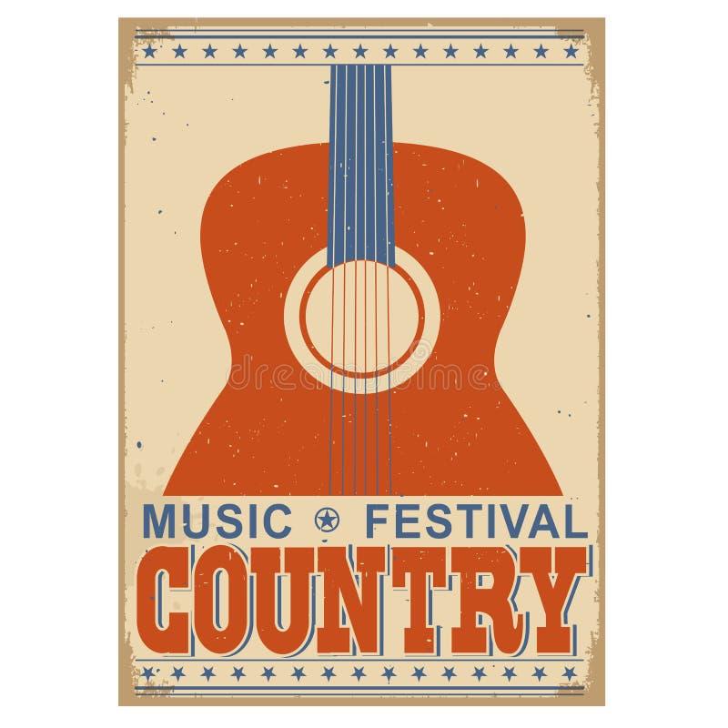 Muzyka country festiwalu tło z tekstem Wektorowy stary plakat w ilustracji