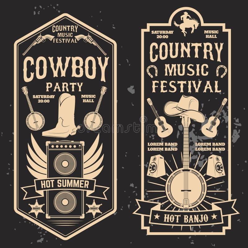 Muzyka country festiwalu ulotka ilustracja wektor