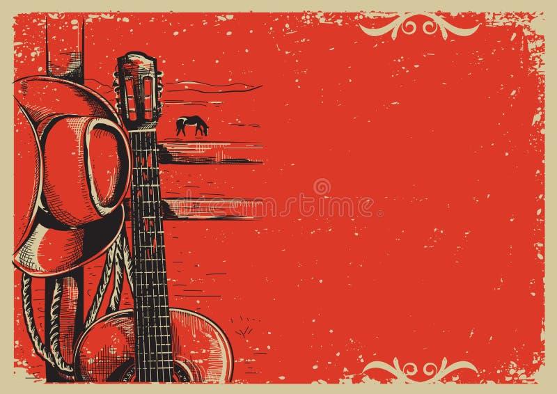 Muzyka country plakat z kowbojskim kapeluszem i gitarą na rocznik poczta ilustracja wektor