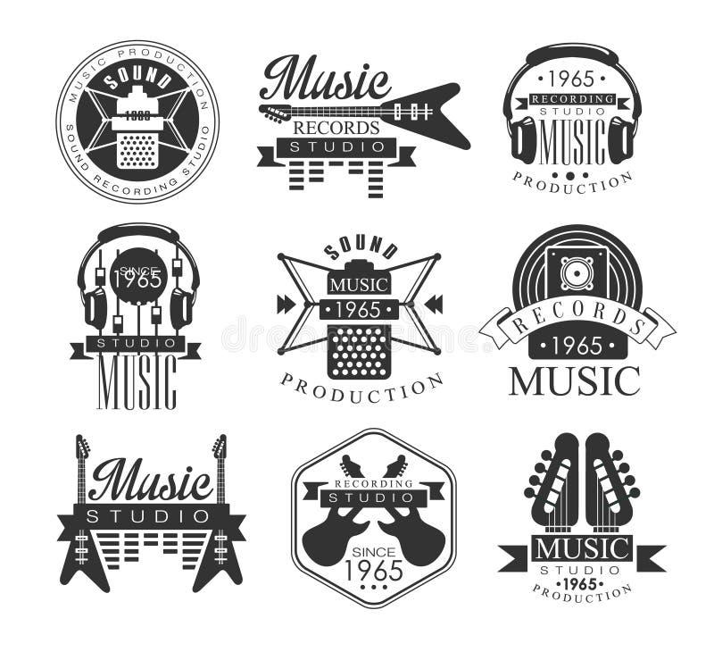 Muzyka Dokumentacyjni Pracowniani Czarny I Biały emblematy ilustracji