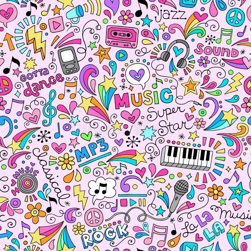 Muzyka Doodles Groovy Bezszwowego Deseniowego tło royalty ilustracja