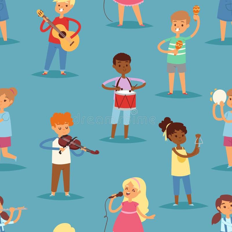 Muzyka dzieciaków wektorowi postać z kreskówki ustawiający dzieci śpiewa instrumenty muzycznych lub bawić się gitara, skrzypce i  ilustracja wektor