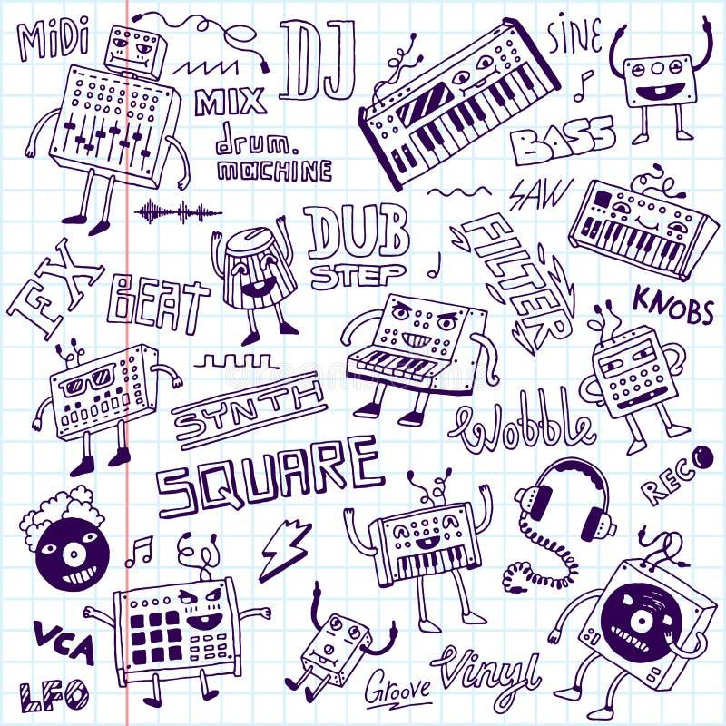 muzyka elektroniczna abstrakcjonistyczny doodle rysować kwieciste ręki ilustracje ustawiać Szkolny notatnik ilustracja wektor