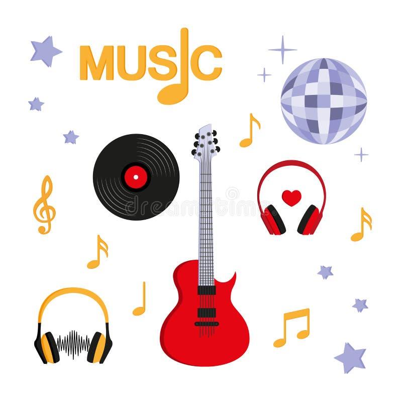 muzyka Gitara, muzyka, rejestr, hełmofony, dyskoteki piłka ilustracja wektor