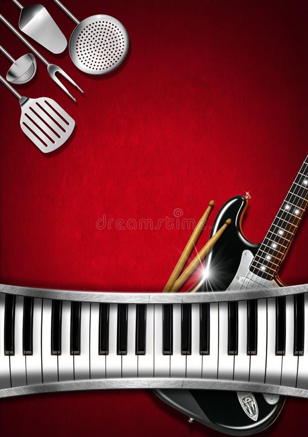 Muzyka i jedzenie - menu projekt royalty ilustracja