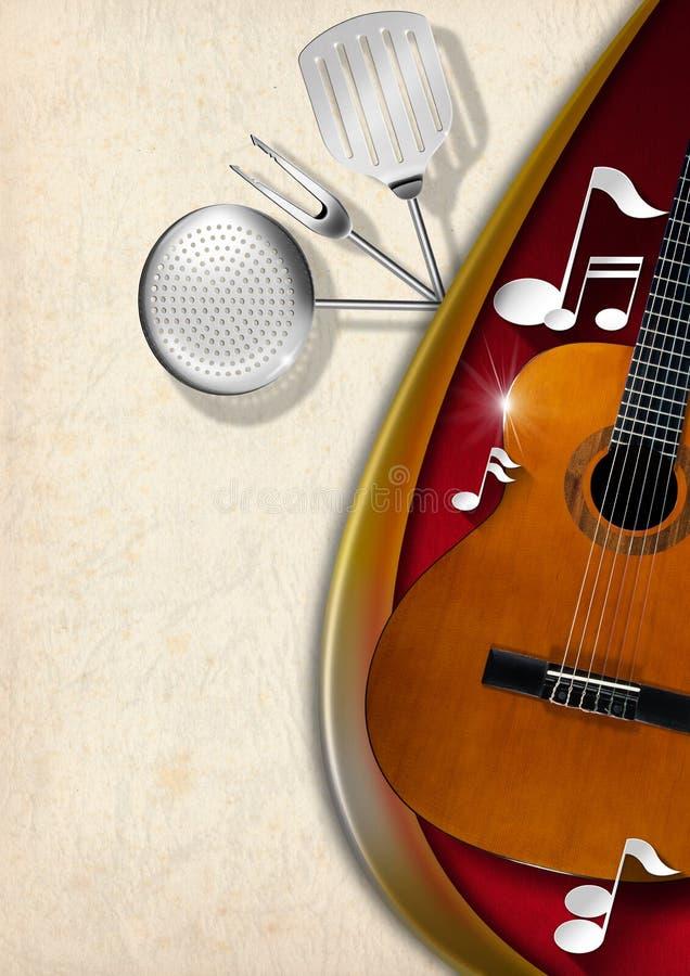 Muzyka i jedzenie - menu projekt ilustracji