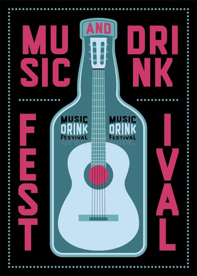 Muzyka i napoju festiwalu typograficzny plakatowy projekt z gitarą i butelką retro ilustracyjny wektora ilustracji