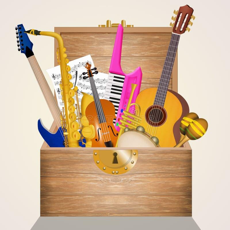 Muzyka instrumentalna w pudełku royalty ilustracja