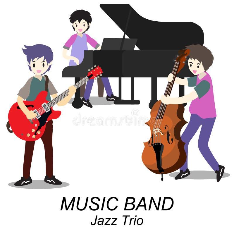 Muzyka Jazzowy zespół, sztuki gitara, basista, pianino, saksofon Jazzowy zespół Wektorowa ilustracja na tle w kreskówka stylu ilustracja wektor