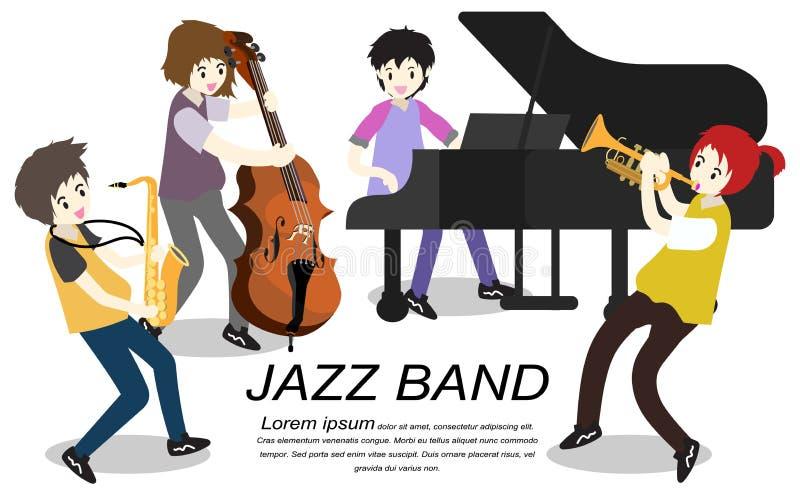 Muzyka Jazzowy zespół, sztuki gitara, basista, pianino, saksofon Jazzowy zespół Wektorowa ilustracja na tle w kreskówka stylu royalty ilustracja