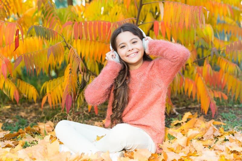 Muzyka jest mój miłością Szczęśliwa mała dziewczynka w jesieni Mała dziewczynka słucha muzyka Szczęśliwi dziecko odzieży hełmofon fotografia royalty free