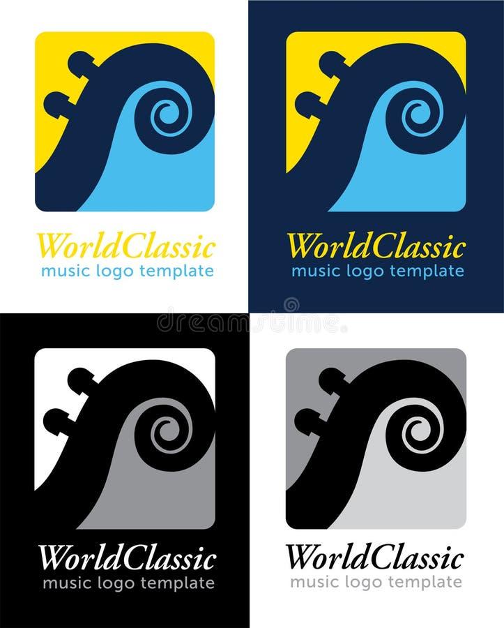 Muzyka Klasyczna logo Wektorowy szablon royalty ilustracja