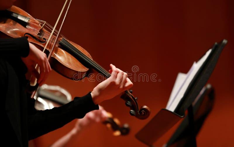 muzyka klasyczna Skrzypaczki w koncercie Nawleczony, violinistCloseup bawić się skrzypce podczas symfoni muzyk obrazy stock