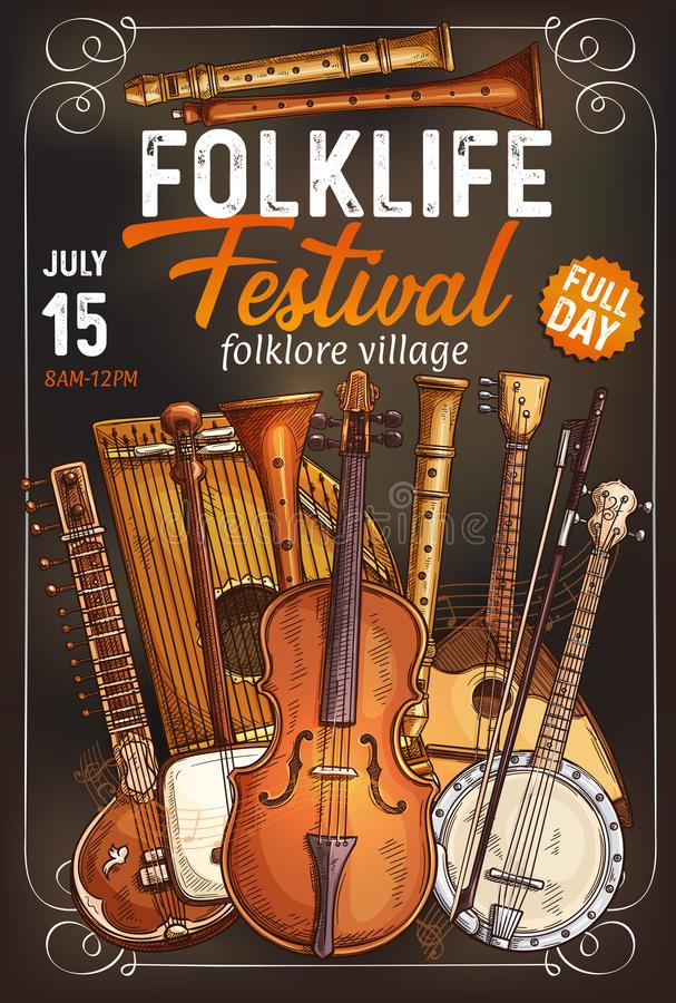 Muzyka ludowa festiwalu plakat z instrumentem muzycznym royalty ilustracja
