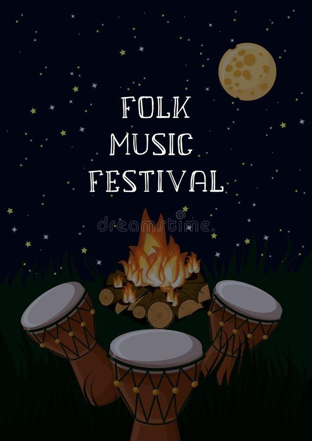Muzyka ludowa festiwalu plakatowy szablon z etnicznymi b?benami, ognisko, gwia?dzisty niebo i tekst, royalty ilustracja