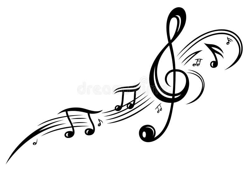 Muzyka, muzyczne notatki, clef ilustracja wektor