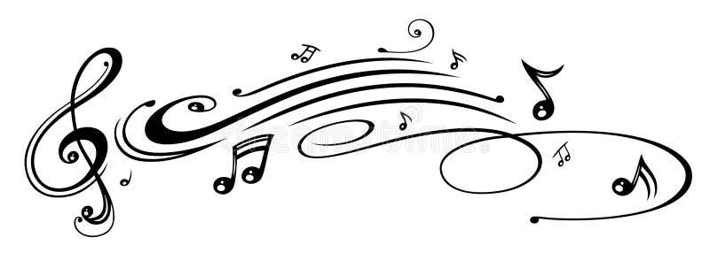Muzyka, muzyczne notatki, clef ilustracji