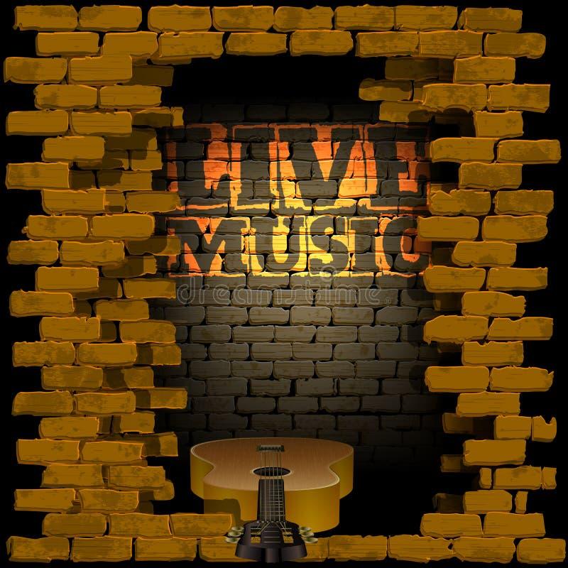 Muzyka na żywo ściana z cegieł błysk błyskawica royalty ilustracja