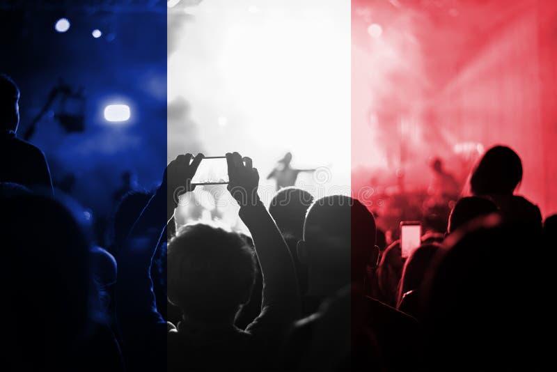 Muzyka na żywo koncert z mieszać Francja flaga na fan zdjęcia royalty free