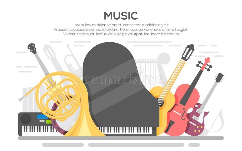Muzyka Na Żywo wektorowy plakatowy szablon royalty ilustracja