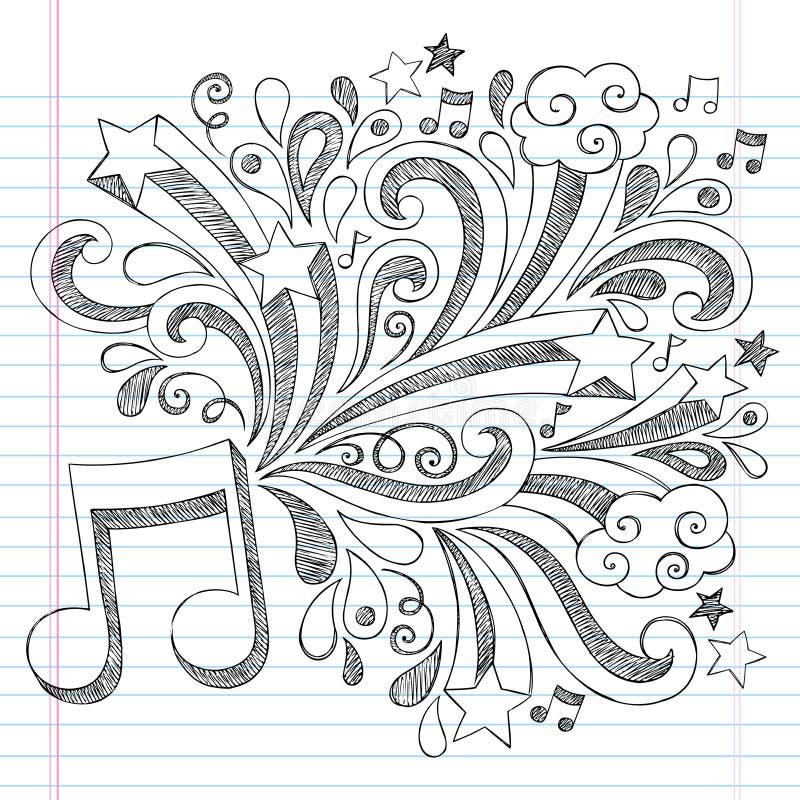 Muzyka notatnika Doodle Nutowy Szkicowy wektor Illustra ilustracja wektor