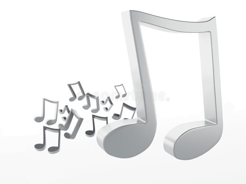 Muzyka nutowy 3D pojedynczy białe tło royalty ilustracja