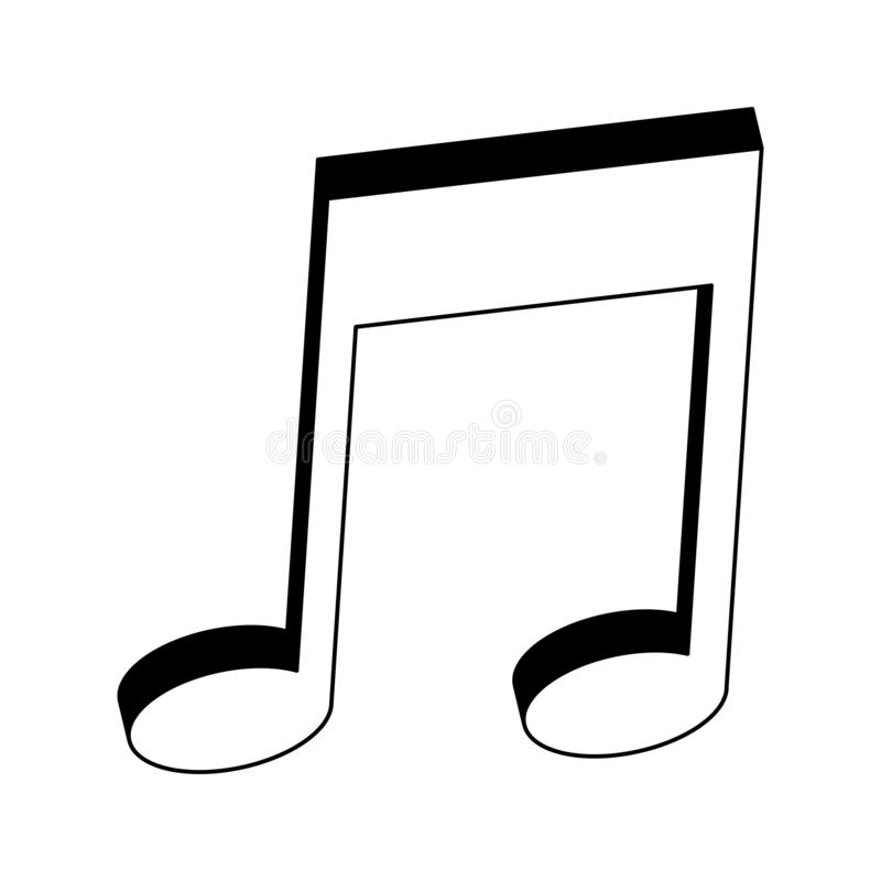 Muzyka nutowy symbol w czarny i biały ilustracja wektor