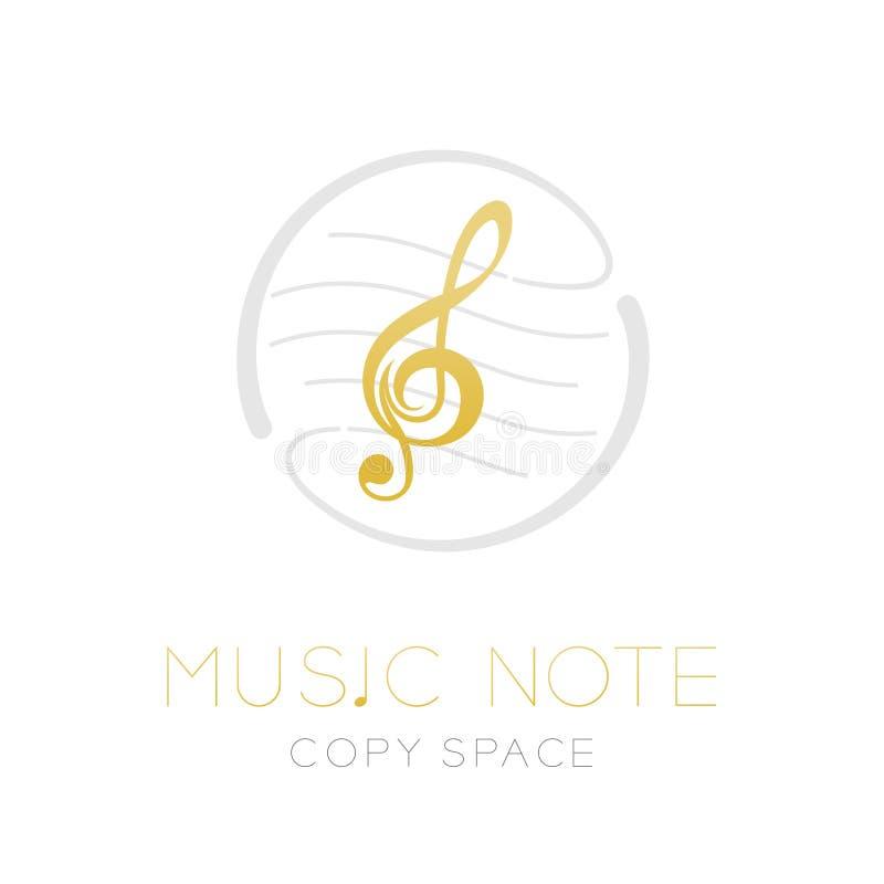 Muzyka nutowy złocisty kolor z junakowanie linii personelu okręgu kształta ramą, logo ikony projekta ustalona ilustracja royalty ilustracja