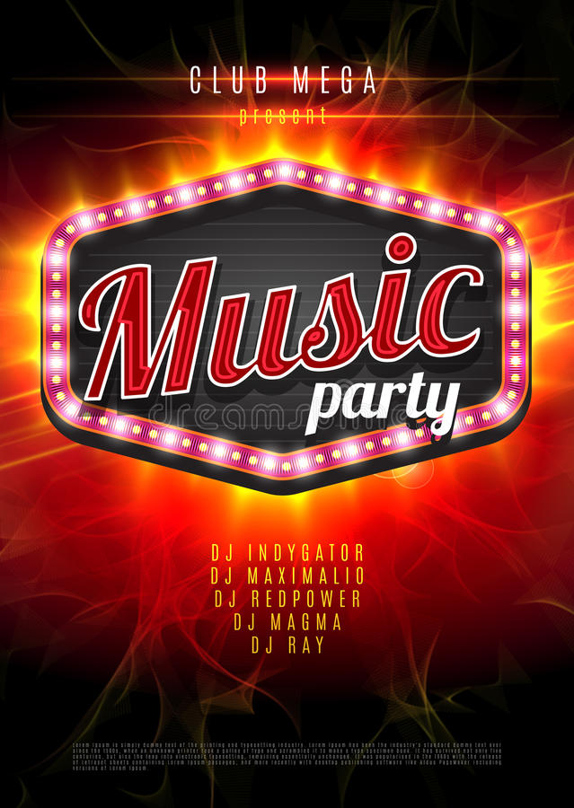 Muzyka partyjny wektorowy plakat z lekką ramą na czerwonym tle ilustracja wektor
