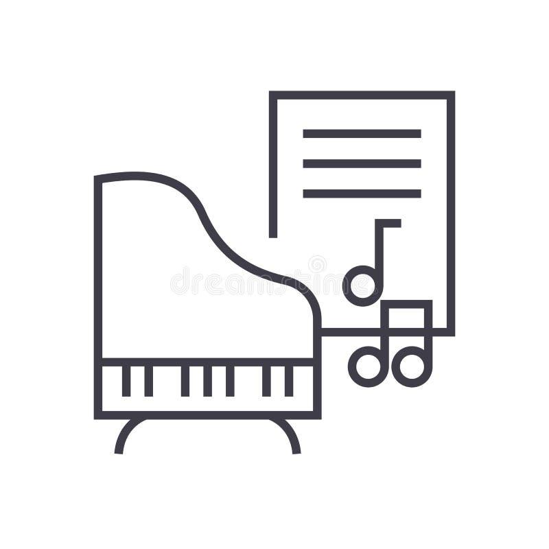 Muzyka, pianino, muzyczna notatka wektoru linii ikona, znak, ilustracja na tle, editable uderzenia ilustracji