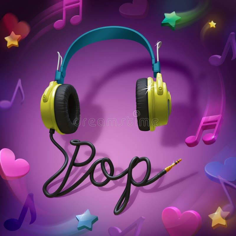Muzyka POP hełmofony ilustracja wektor