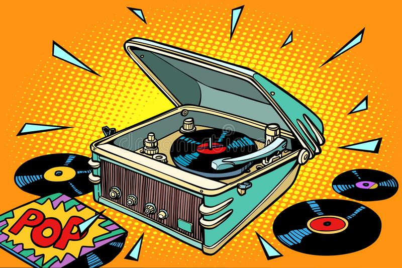 Muzyka POP, winylowi rejestry i gramofon, ilustracja wektor
