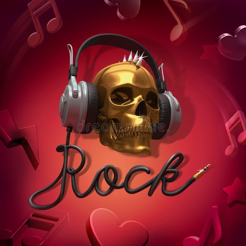 Muzyka rockowa hełmofony royalty ilustracja