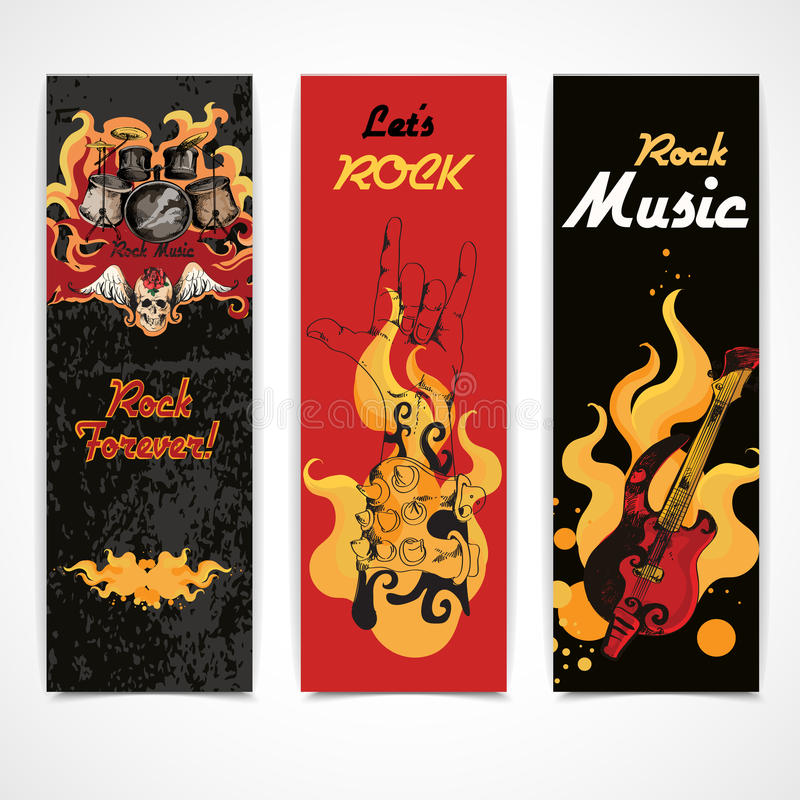 Muzyka rockowa sztandary ustawiający ilustracji