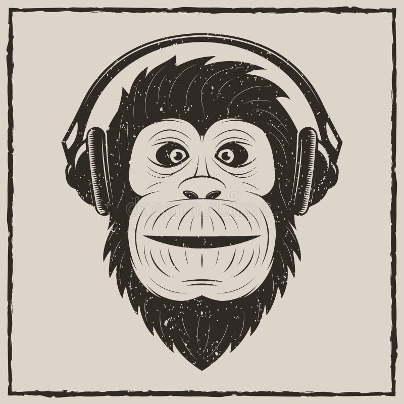 Muzyka rocznika grunge małpi wektorowy projekt ilustracja wektor