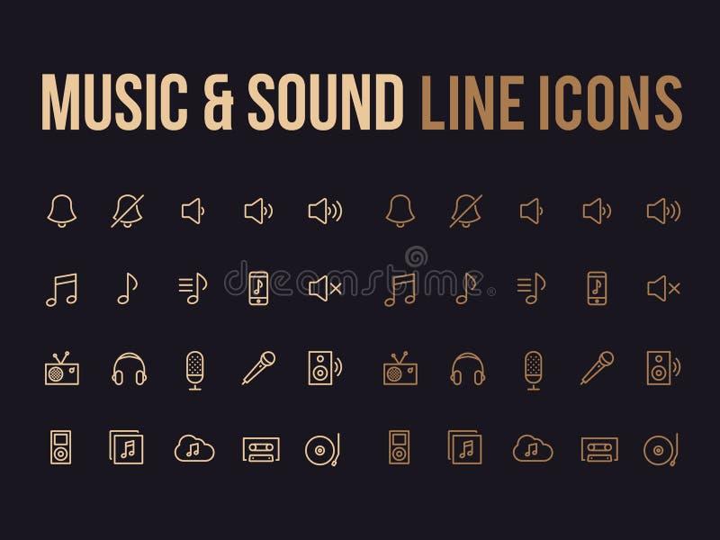 Muzyka, rozsądna wektor linii ikona dla app, mobilna strona internetowa wyczulona ilustracja wektor
