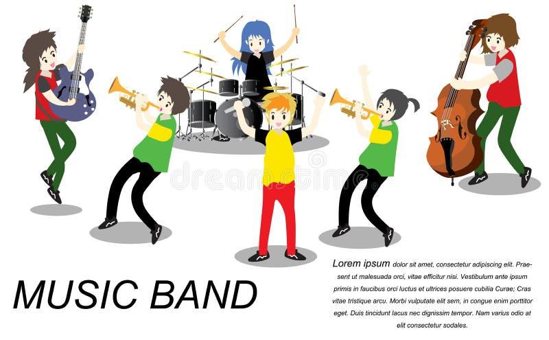 Muzyka ska reggae grupa, sztuki gitara, piosenkarz, gitarzysta, dobosz, solo gitarzysta, basista, trumpetist Ska zespół Wektorowy royalty ilustracja