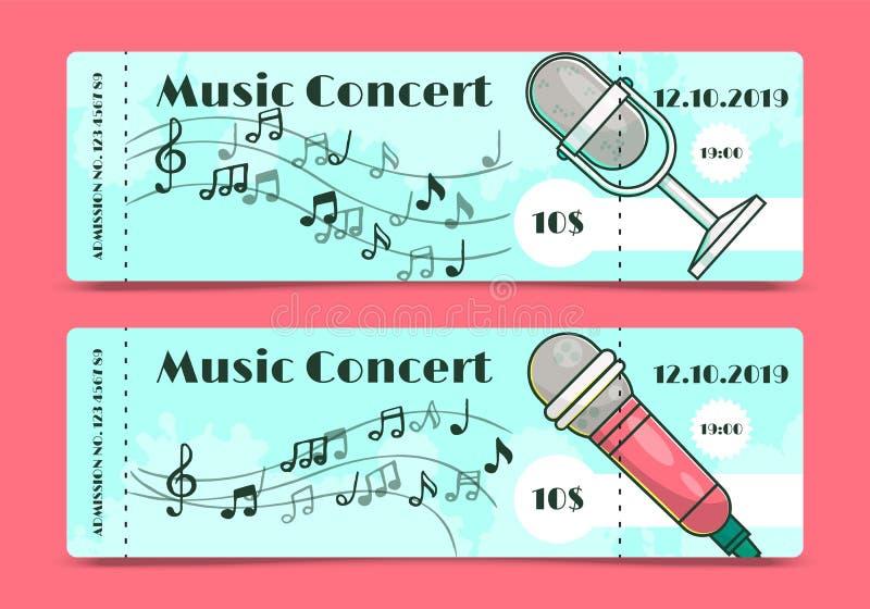 Muzyka szablonu sztandar?w wektoru koncertowa biletowa ilustracja Koncerta, przyj?cia lub festiwalu zaproszenie z mikrofonem, i ilustracji
