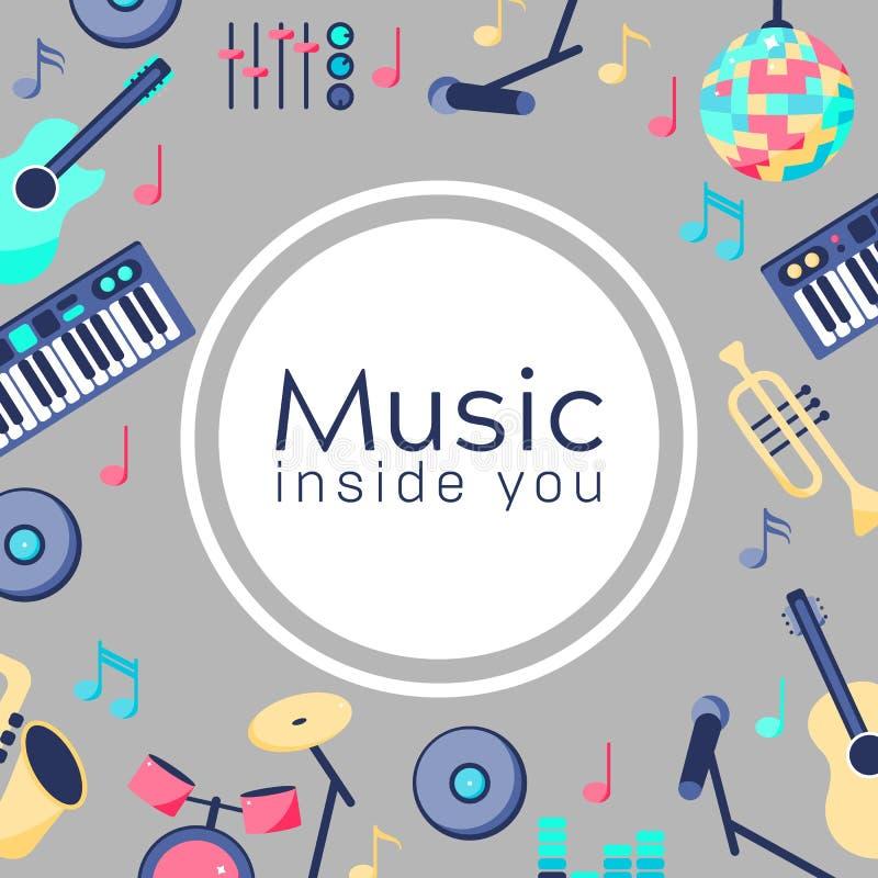 Muzyka wśrodku ciebie Plakat z instrumentami muzycznymi Backgroud dla teksta ilustracji