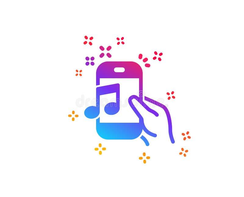 Muzyka w telefon ikonie Mobilny radio znak wektor royalty ilustracja