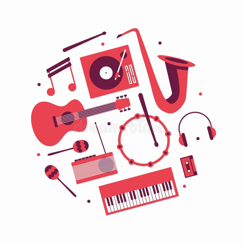 Muzyka, wektorowa płaska ilustracja, ikona set Gitara, turntable, notatka, trąbka, hełmofony, bęben, radio, marakasy, pianino, ka ilustracja wektor
