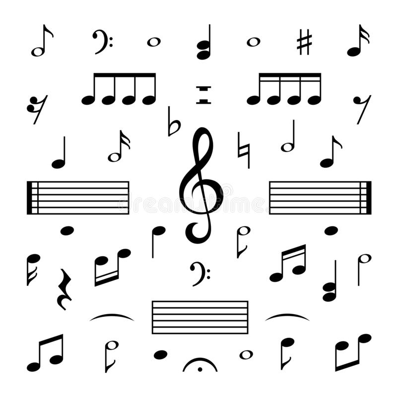 muzyka zauważa set Muzykalnej notatki treble clef sylwetka podpisuje wektory odizolowywających melodia symbole royalty ilustracja
