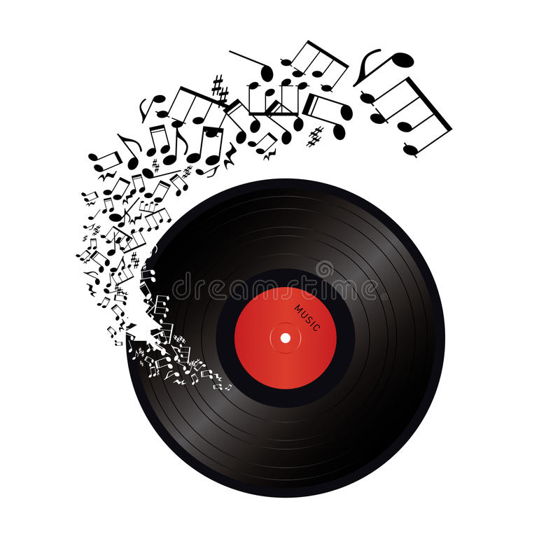 Muzyka zauważa przybycie z dziury w winylu ilustracji