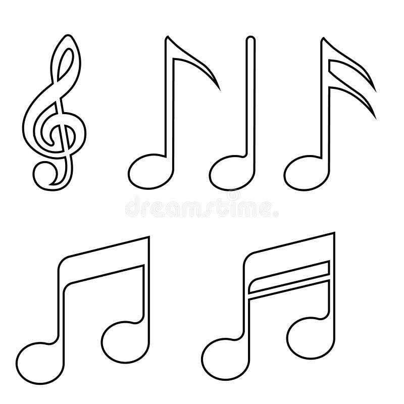 Muzyka zauważa Wektorowe ikony ustawiać Nutowa wektorowa ikona Muzyczna ilustracyjna kolekcja royalty ilustracja