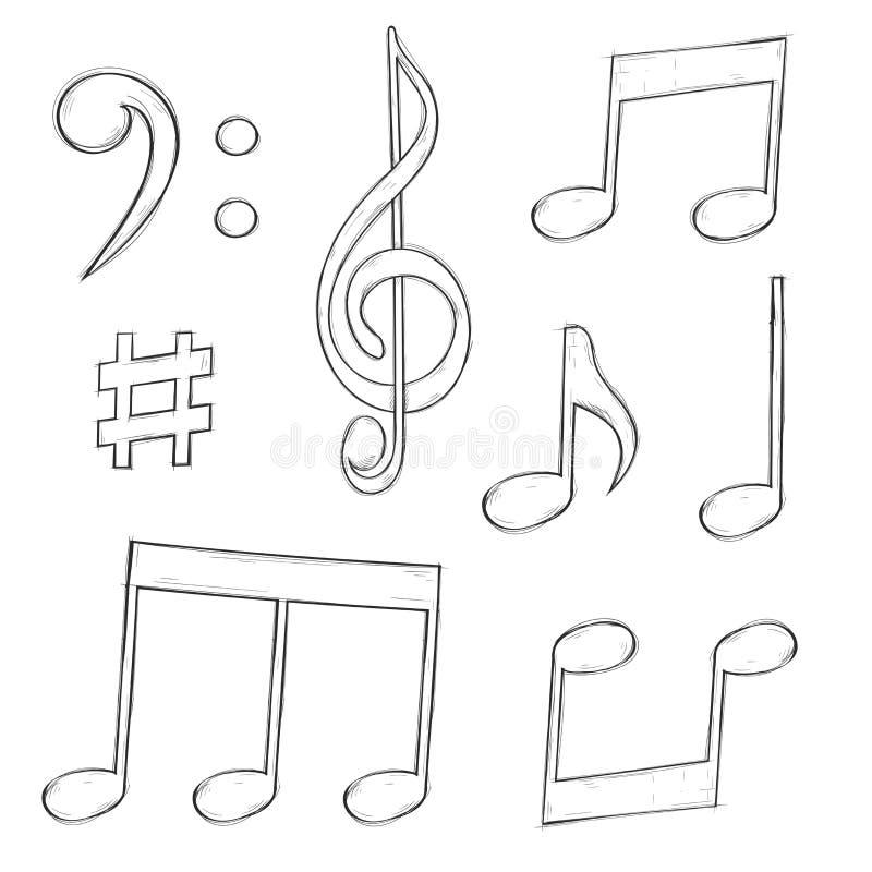 Muzyka znaki Notatki i symbole odizolowywający na białym tle Ręka rysujący nakreślenie ilustracji
