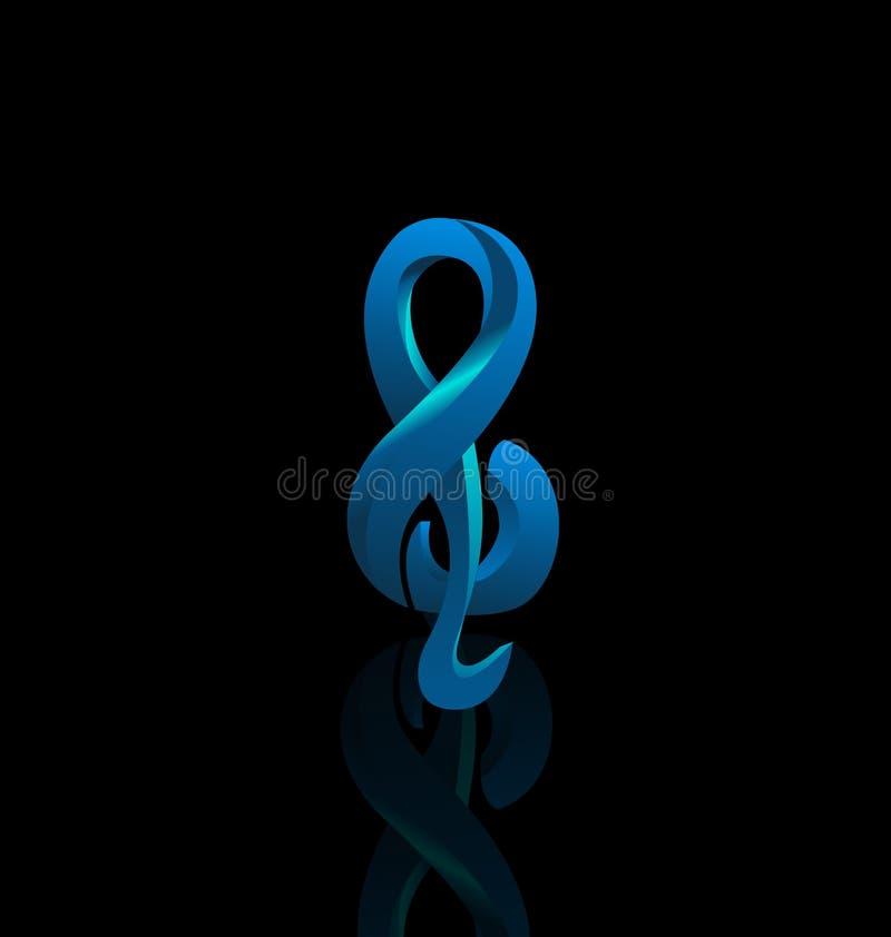 Muzykalna błękitna notatka na czarnym tle royalty ilustracja